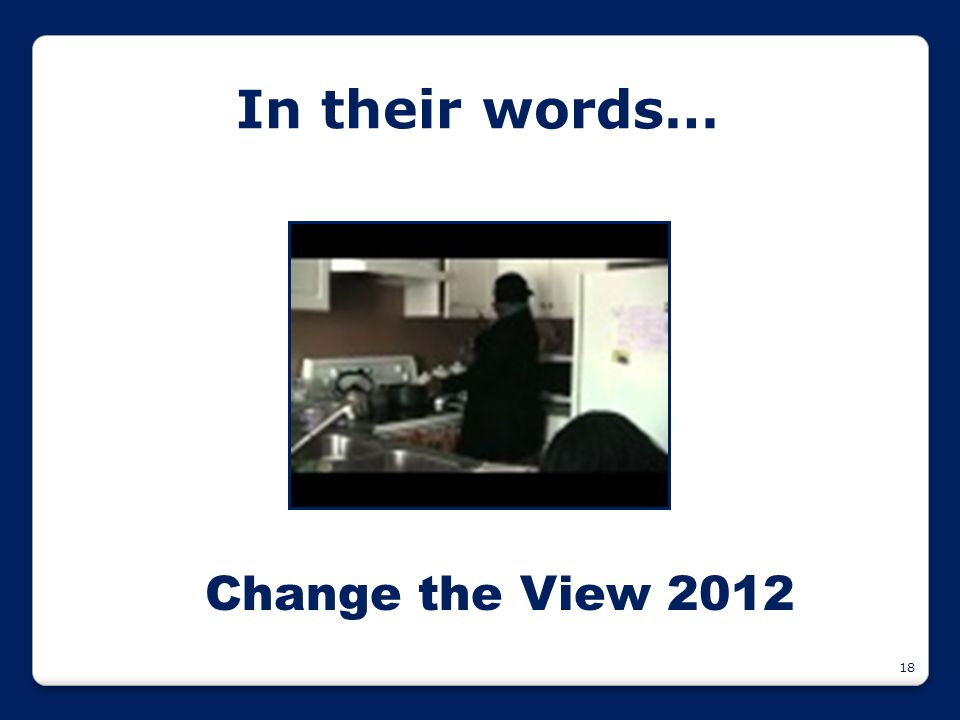 18 In their words… Change the View 2012