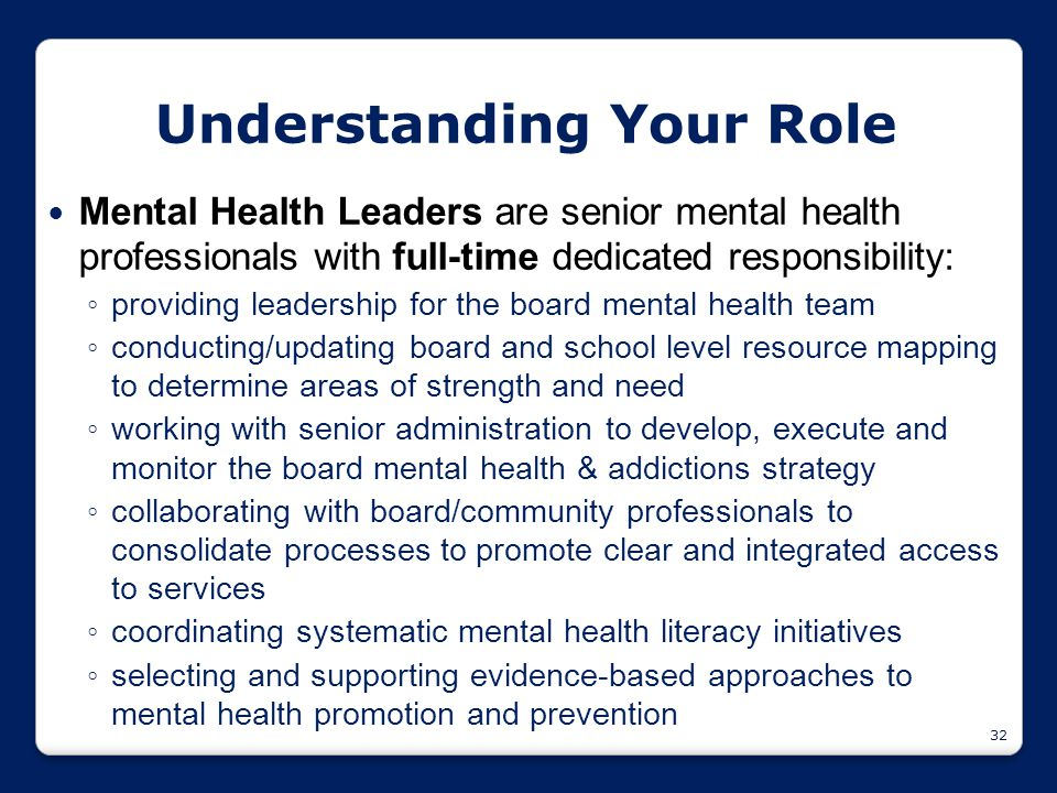 32 Understanding Your Role Mental Health Leaders are senior mental health professionals with full-time dedicated responsibility: ◦ providing leadershi
