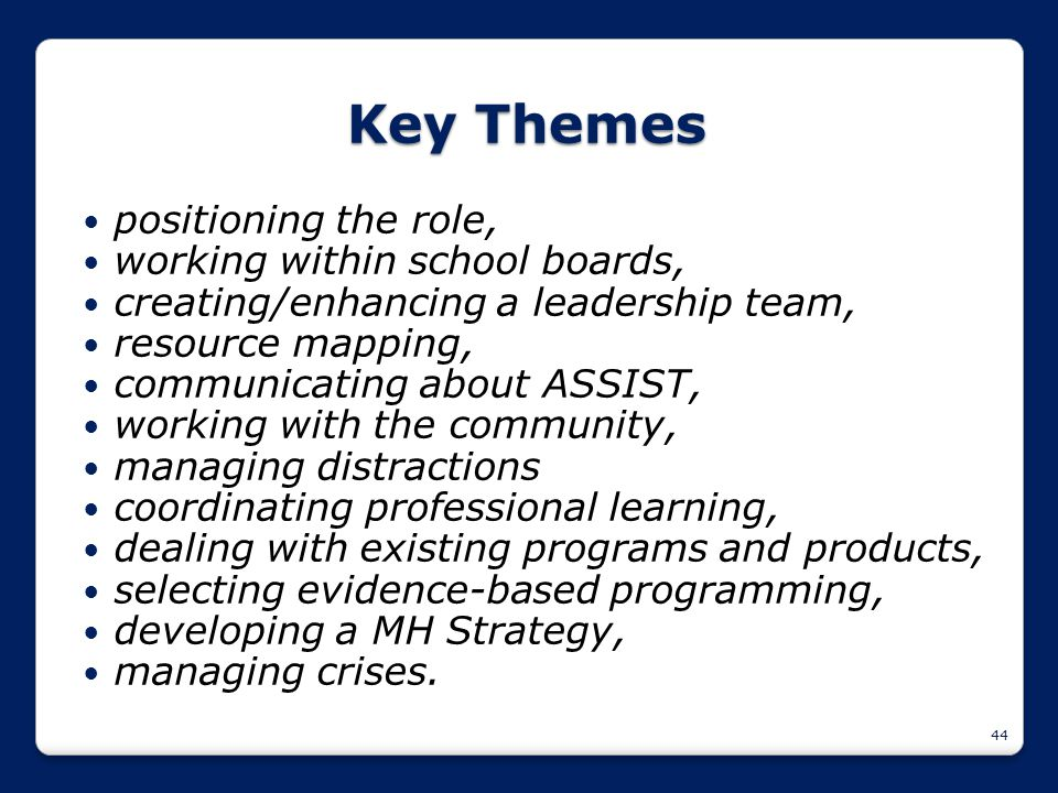 44 Key Themes positioning the role, working within school boards, creating/enhancing a leadership team, resource mapping, communicating about ASSIST,