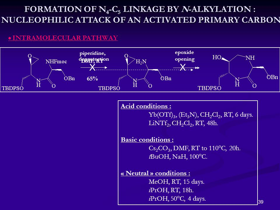 39 piperidine, DMF, RT 65%  INTRAMOLECULAR PATHWAY deprotection X Acid conditions : Yb(OTf) 3, (Et 3 N), CH 2 Cl 2, RT, 6 days.
