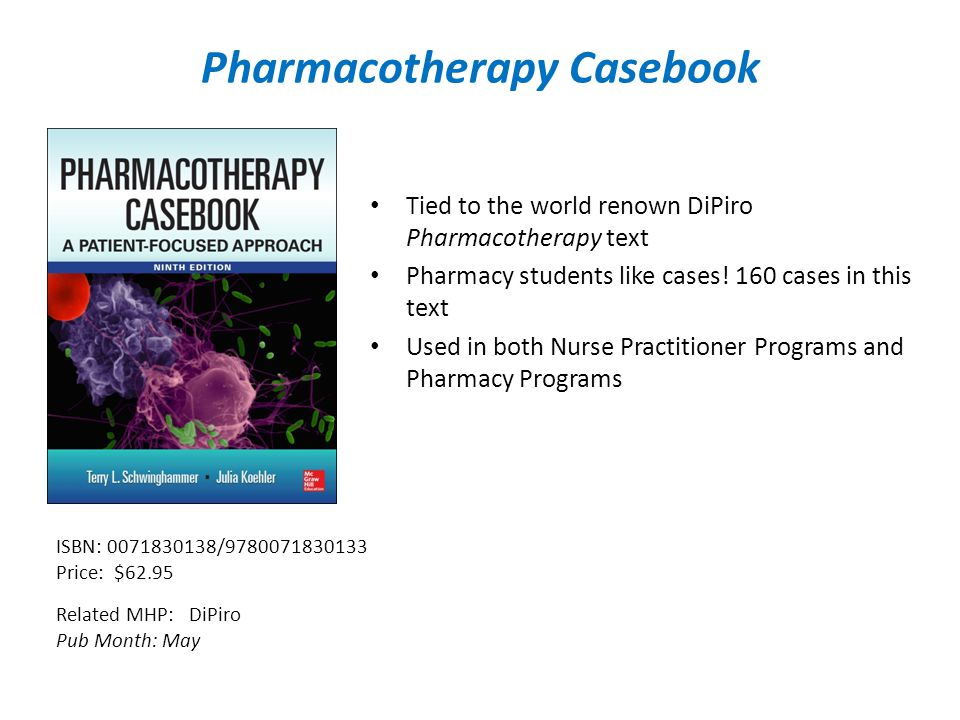 Pharmacotherapy Casebook Tied to the world renown DiPiro Pharmacotherapy text Pharmacy students like cases.