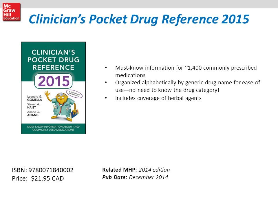 Clinician's Pocket Drug Reference 2015 Must-know information for ~1,400 commonly prescribed medications Organized alphabetically by generic drug name for ease of use—no need to know the drug category.