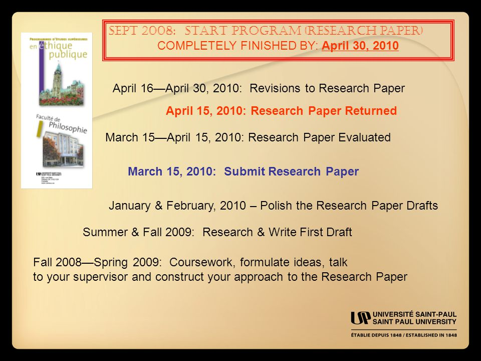 SEPT 2008: START PROGRAM (Research paper) COMPLETELY FINISHED BY: April 30, 2010 April 16—April 30, 2010: Revisions to Research Paper April 15, 2010: Research Paper Returned March 15—April 15, 2010: Research Paper Evaluated March 15, 2010: Submit Research Paper January & February, 2010 – Polish the Research Paper Drafts Summer & Fall 2009: Research & Write First Draft Fall 2008—Spring 2009: Coursework, formulate ideas, talk to your supervisor and construct your approach to the Research Paper