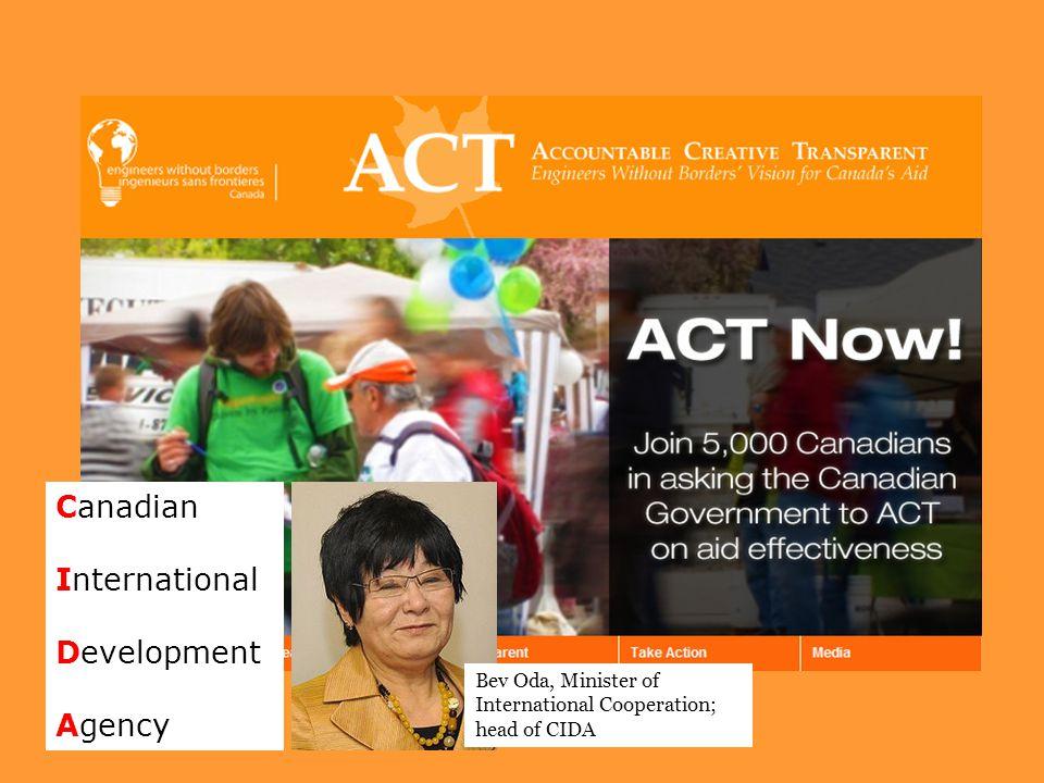Canadian International Development Agency Bev Oda, Minister of International Cooperation; head of CIDA
