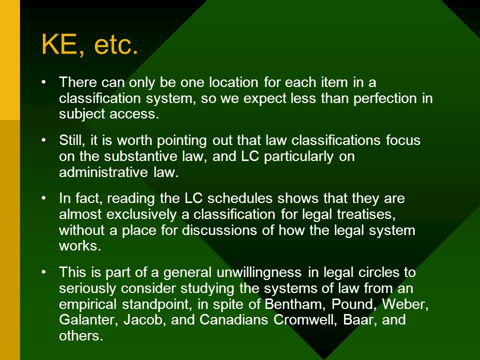 KE, etc. There can only be one location for each item in a classification system, so we expect less than perfection in subject access. Still, it is wo