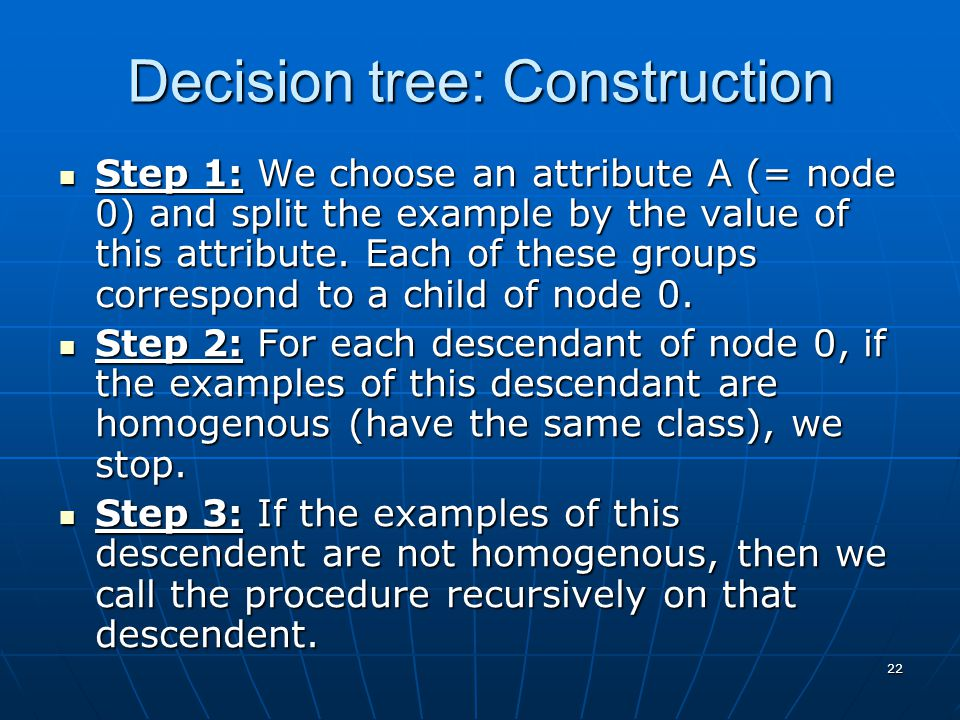 22 Decision tree: Construction Step 1: We choose an attribute A (= node 0) and split the example by the value of this attribute.