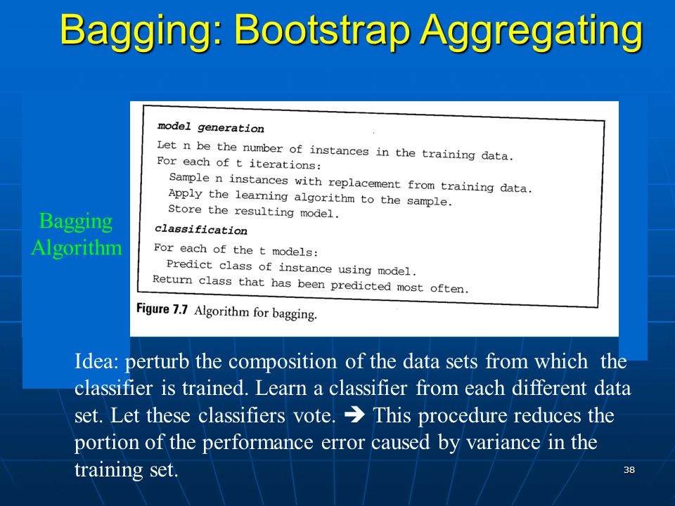 38 Bagging: Bootstrap Aggregating Idea: perturb the composition of the data sets from which the classifier is trained.