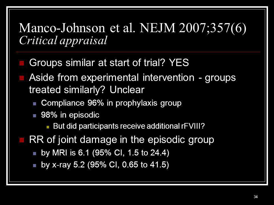 34 Manco-Johnson et al. NEJM 2007;357(6) Critical appraisal Groups similar at start of trial.