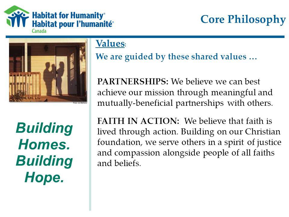 Core Philosophy Building Homes. Building Hope.