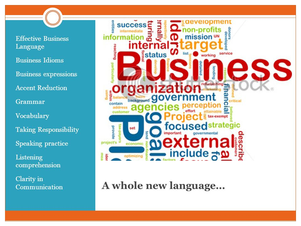 A whole new language… Effective Business Language Business Idioms Business expressions Accent Reduction Grammar Vocabulary Taking Responsibility Speaking practice Listening comprehension Clarity in Communication