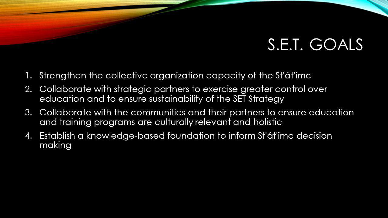 A COMMUNITY DRIVEN PROCESS St át imc Education and Training Advisory Committee (S.E.T.A.C.) Formal representatives from each of the St'at'imc communities provide direction to the S.E.T.
