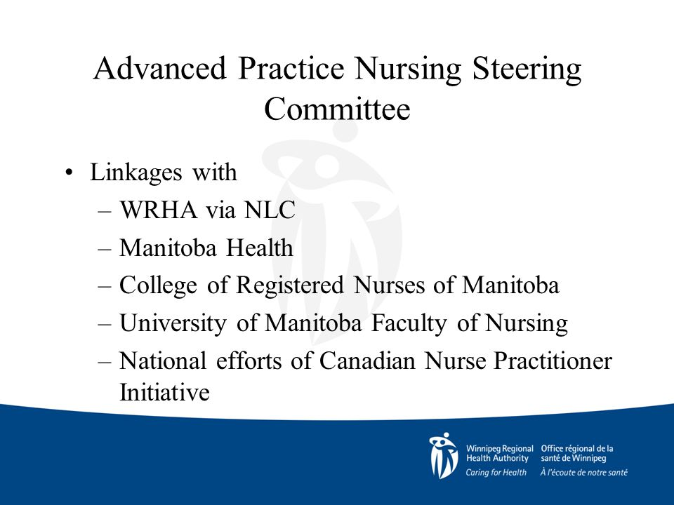 Advanced Practice Nursing Steering Committee Linkages with –WRHA via NLC –Manitoba Health –College of Registered Nurses of Manitoba –University of Manitoba Faculty of Nursing –National efforts of Canadian Nurse Practitioner Initiative