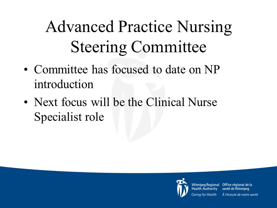 Advanced Practice Nursing Steering Committee Committee has focused to date on NP introduction Next focus will be the Clinical Nurse Specialist role