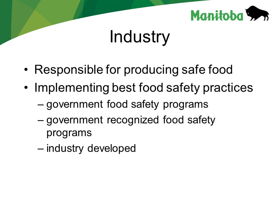 Industry Responsible for producing safe food Implementing best food safety practices –government food safety programs –government recognized food safety programs –industry developed