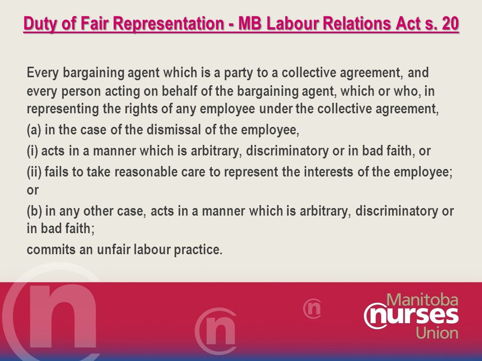 Duty of Fair Representation - MB Labour Relations Act s.