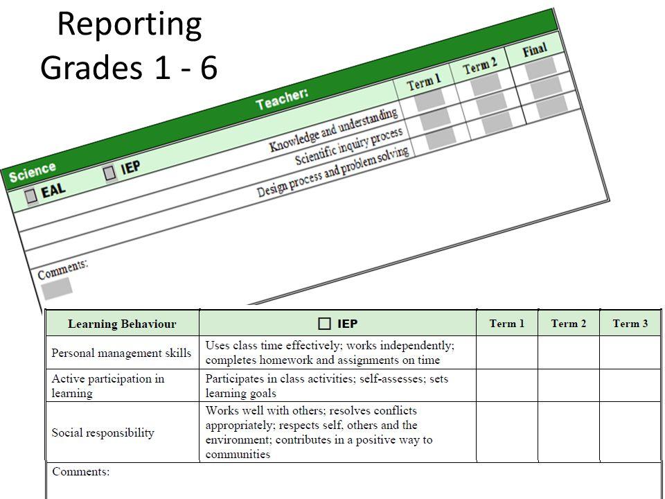 Reporting Grades 1 - 6