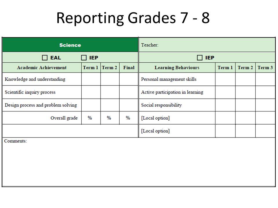 Reporting Grades 7 - 8