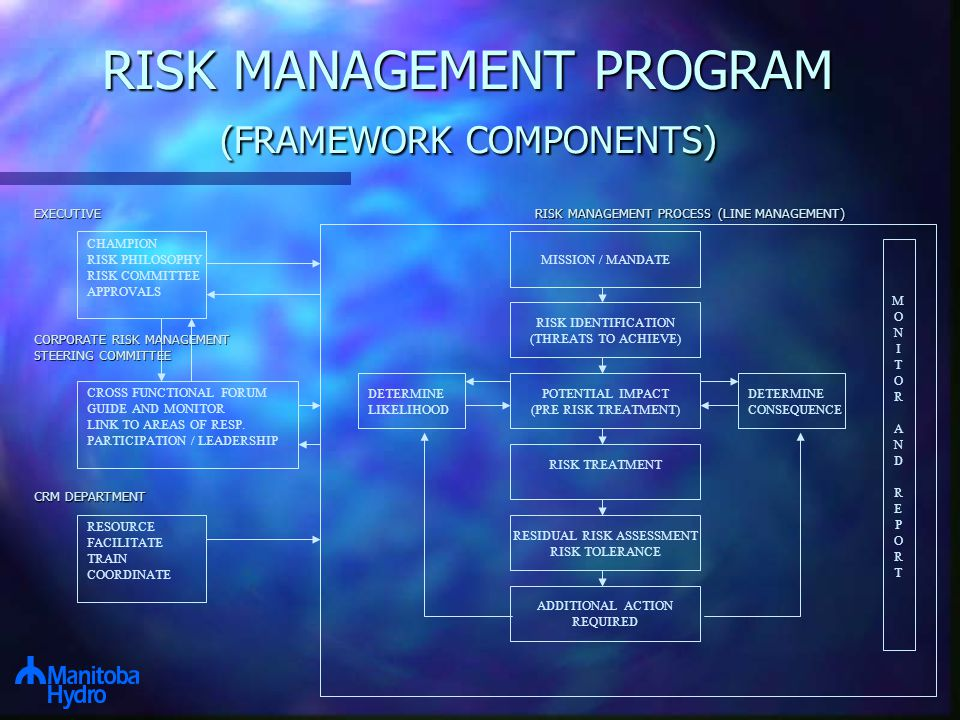 RISK MANAGEMENT PROGRAM (FRAMEWORK COMPONENTS) CROSS FUNCTIONAL FORUM GUIDE AND MONITOR LINK TO AREAS OF RESP.