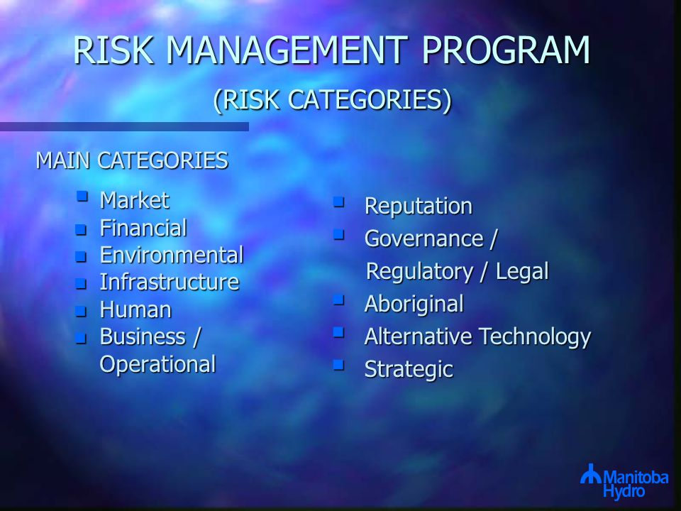RISK MANAGEMENT PROGRAM (RISK CATEGORIES)  Market n Financial n Environmental n Infrastructure n Human n Business / Operational Operational  Reputation  Governance / Regulatory / Legal Regulatory / Legal  Aboriginal  Alternative Technology  Strategic MAIN CATEGORIES