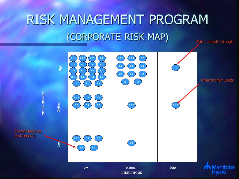 RISK MANAGEMENT PROGRAM (CORPORATE RISK MAP) Water Supply Drought Uneconomic Loads Power Hedging Instruments