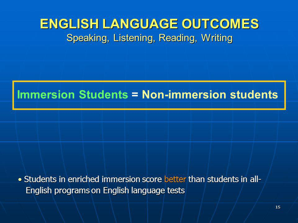 15 ENGLISH LANGUAGE OUTCOMES Speaking, Listening, Reading, Writing Immersion Students = Non-immersion students Students in enriched immersion score be
