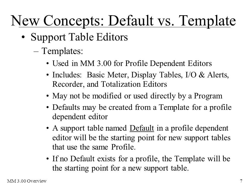 MM 3.00 Overview7 New Concepts: Default vs.