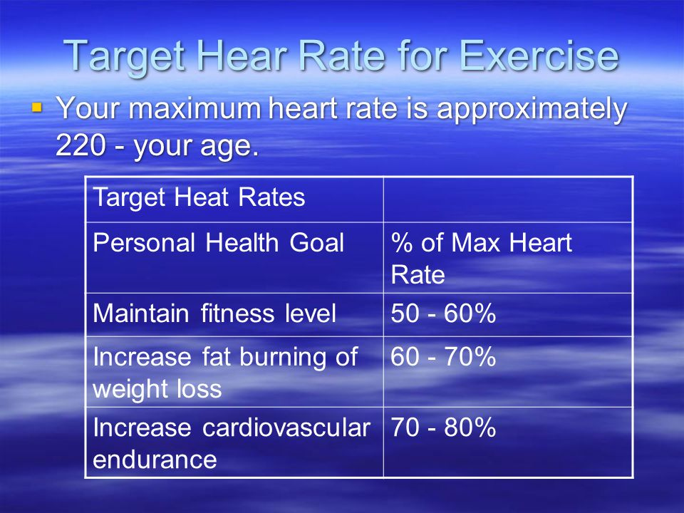 Target Hear Rate for Exercise  Your maximum heart rate is approximately 220 - your age.