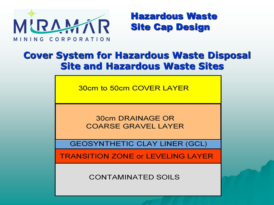 Cover System for Hazardous Waste Disposal Site and Hazardous Waste Sites Hazardous Waste Site Cap Design