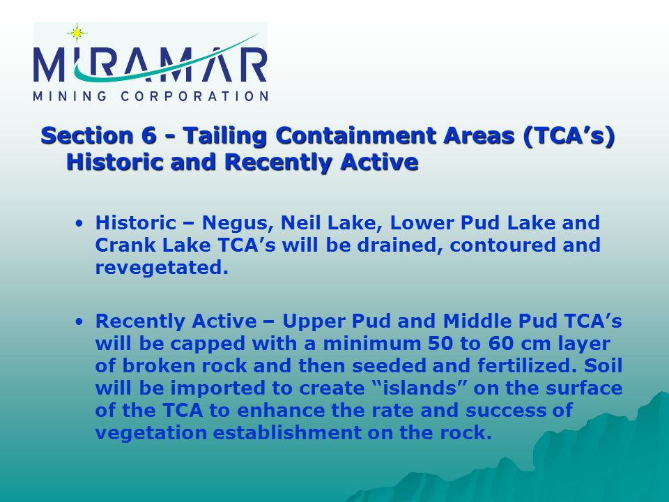 Section 6 - Tailing Containment Areas (TCA's) Historic and Recently Active Historic – Negus, Neil Lake, Lower Pud Lake and Crank Lake TCA's will be drained, contoured and revegetated.