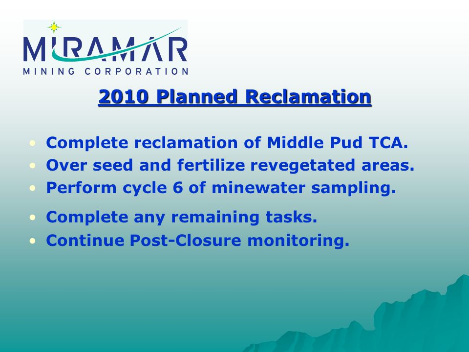 2010 Planned Reclamation Complete reclamation of Middle Pud TCA.