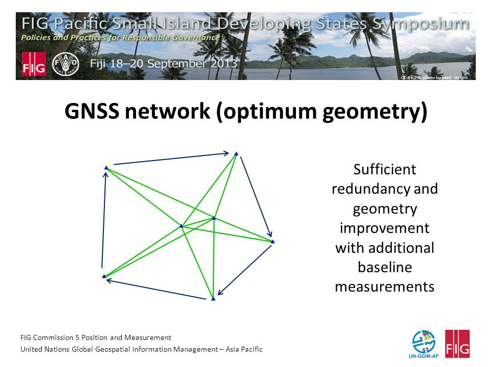FIG Commission 5 Position and Measurement United Nations Global Geospatial Information Management – Asia Pacific GNSS network (optimum geometry) Sufficient redundancy and geometry improvement with additional baseline measurements