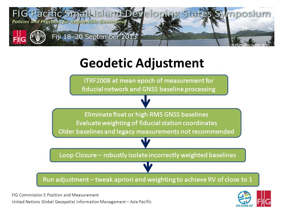 FIG Commission 5 Position and Measurement United Nations Global Geospatial Information Management – Asia Pacific Geodetic Adjustment ITRF2008 at mean epoch of measurement for fiducial network and GNSS baseline processing Eliminate float or high RMS GNSS baselines Evaluate weighting of fiducial station coordinates Older baselines and legacy measurements not recommended Loop Closure – robustly isolate incorrectly weighted baselines Run adjustment – tweak apriori and weighting to achieve RV of close to 1
