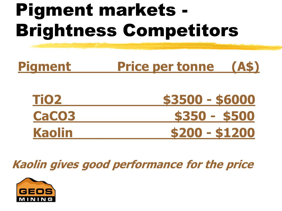 Commercial Economics PREMIUM GRADE CRITERIA A high priced Kaolin has : v Superior Brightness v Superior Whiteness v Desired particle size v High opacity (good hiding power) v Chemical purity v Low viscosity (for paper markets) v Other properties - abrasivity, conductivity, etc