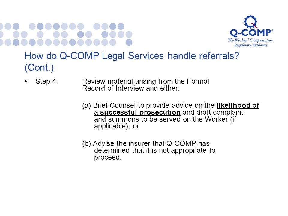 How do Q-COMP Legal Services handle referrals.