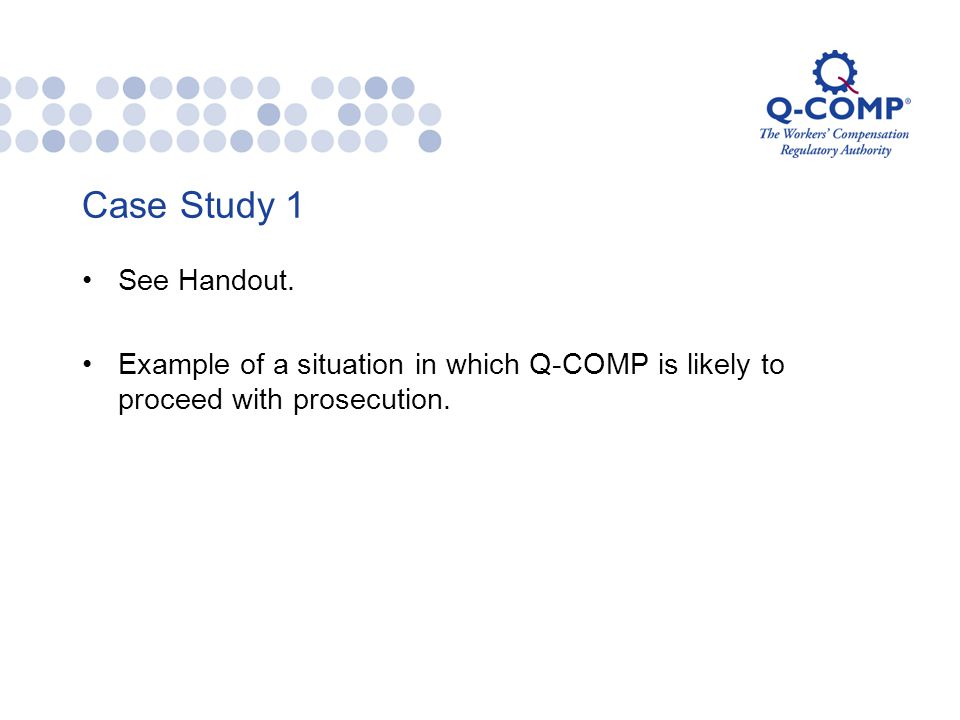 Case Study 1 See Handout.