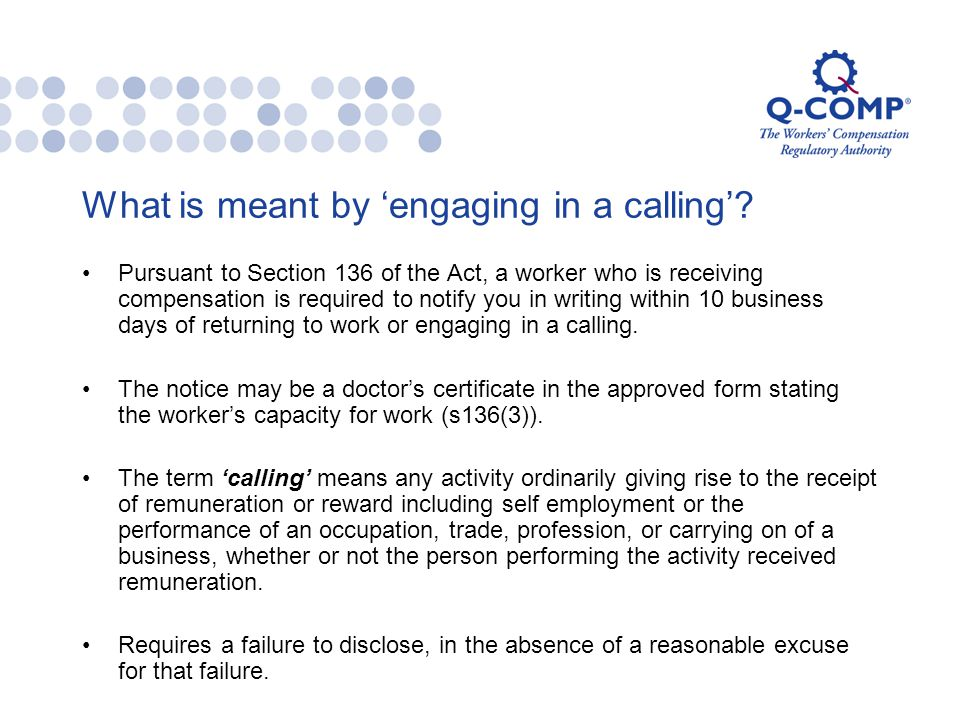 What is meant by 'engaging in a calling'.