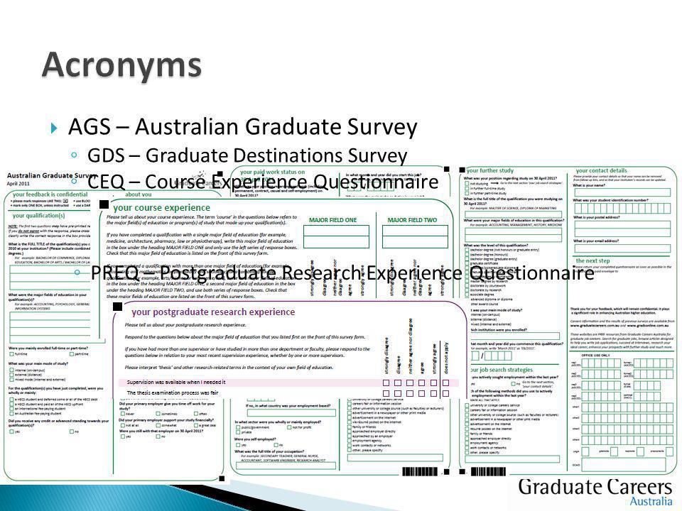  AGS – Australian Graduate Survey ◦ GDS – Graduate Destinations Survey ◦ CEQ – Course Experience Questionnaire ◦ PREQ – Postgraduate Research Experience Questionnaire