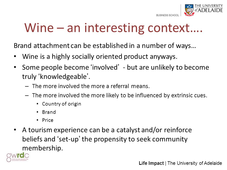 Life Impact | The University of Adelaide Wine – an interesting context….