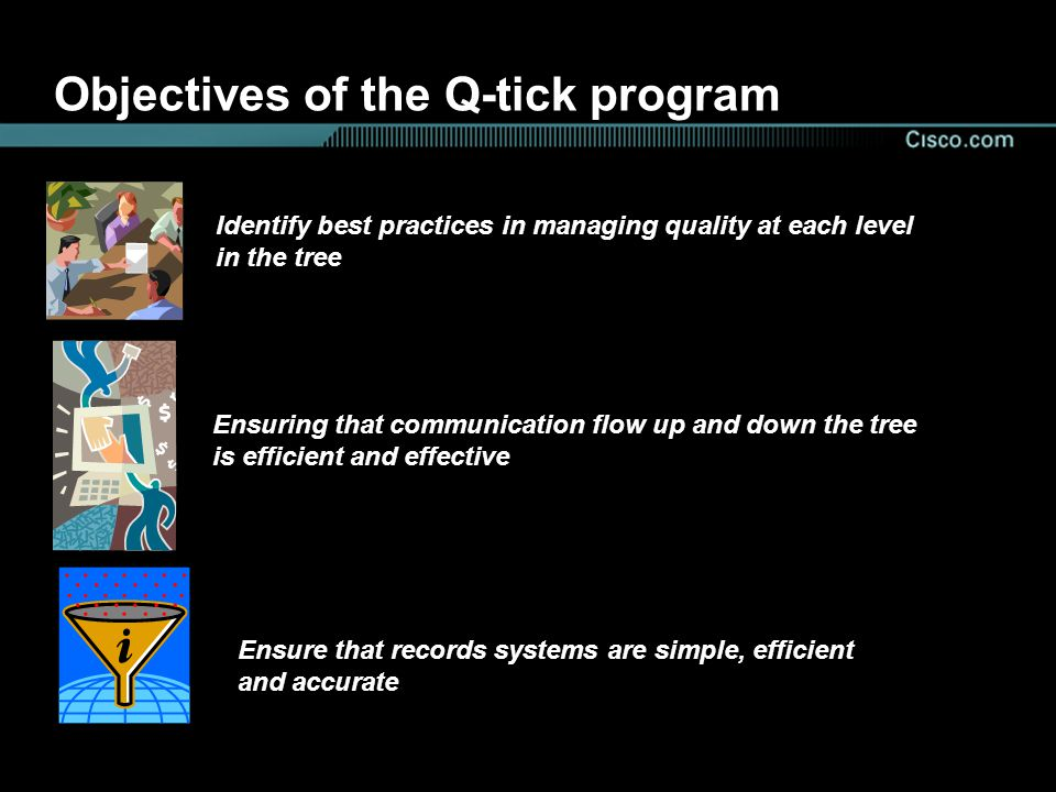 Objectives of the Q-tick program Identify best practices in managing quality at each level in the tree Ensuring that communication flow up and down the tree is efficient and effective Ensure that records systems are simple, efficient and accurate