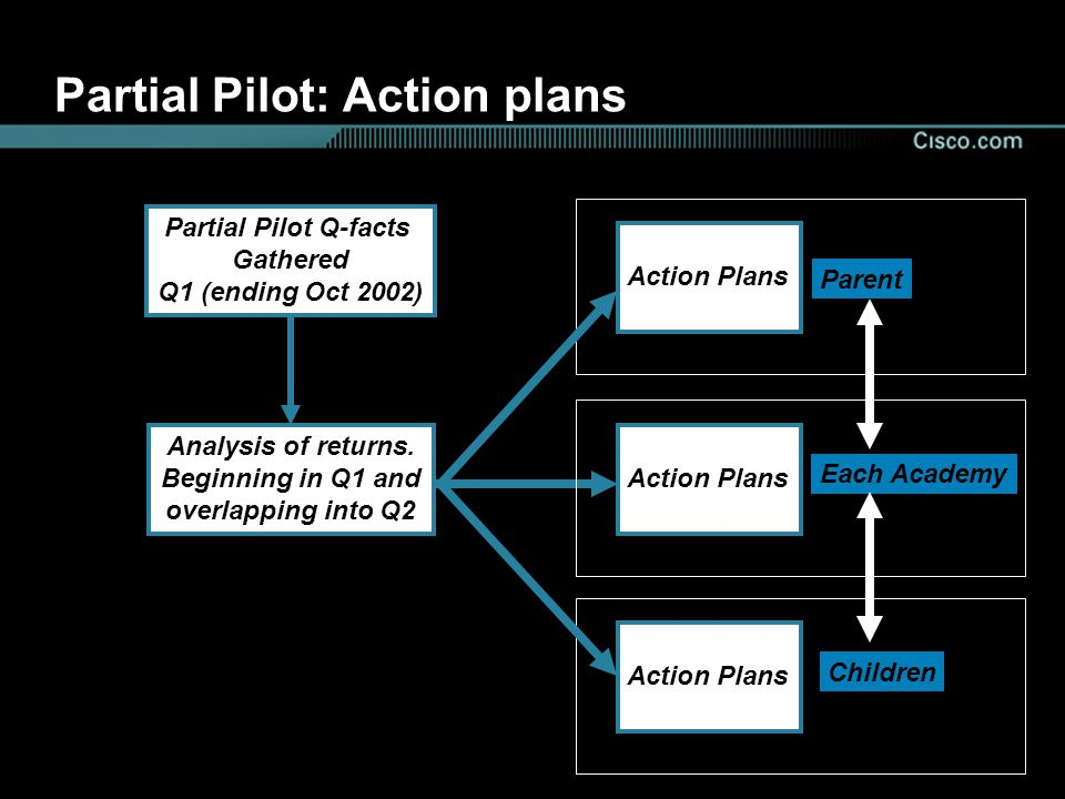 Partial Pilot: Action plans Partial Pilot Q-facts Gathered Q1 (ending Oct 2002) Analysis of returns.