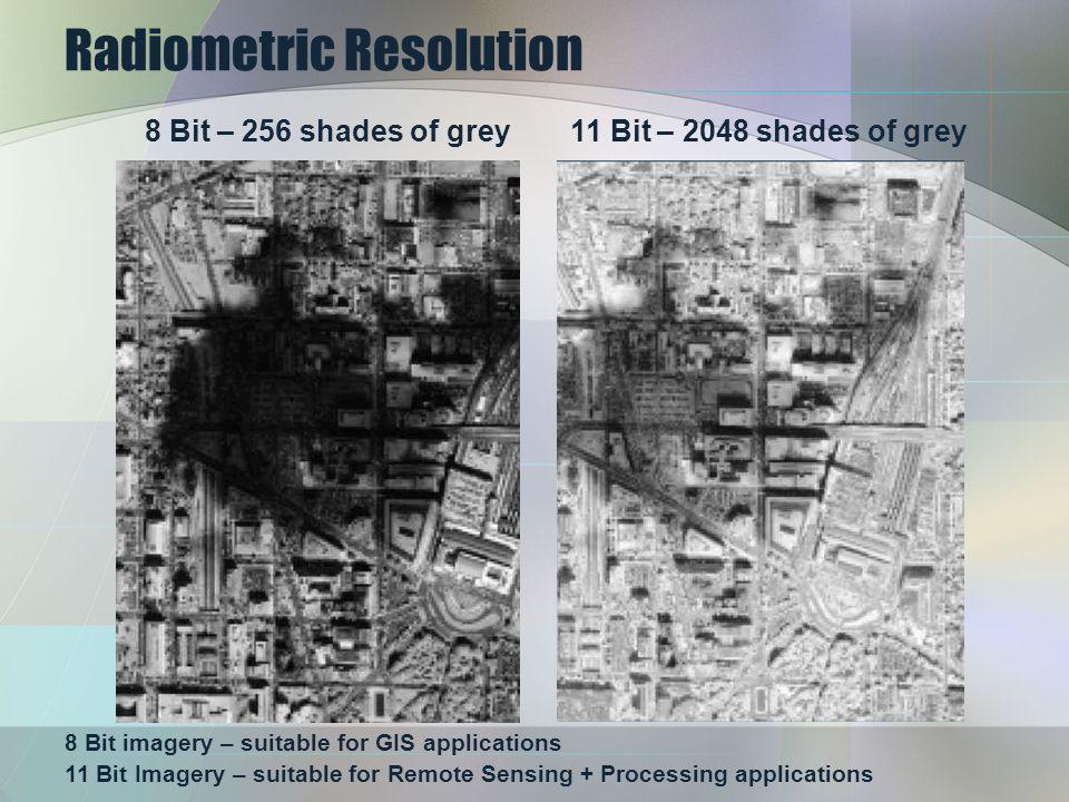 Radiometric Resolution 8 Bit imagery – suitable for GIS applications 11 Bit Imagery – suitable for Remote Sensing + Processing applications 8 Bit – 256 shades of grey11 Bit – 2048 shades of grey