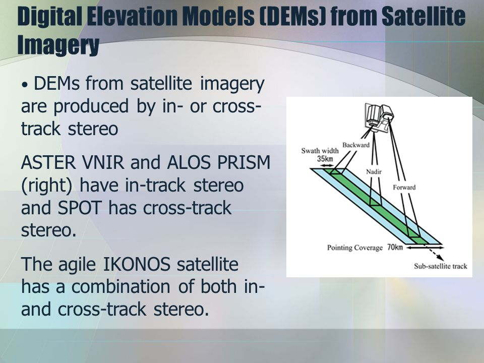 Digital Elevation Models (DEMs) from Satellite Imagery DEMs from satellite imagery are produced by in- or cross- track stereo ASTER VNIR and ALOS PRISM (right) have in-track stereo and SPOT has cross-track stereo.