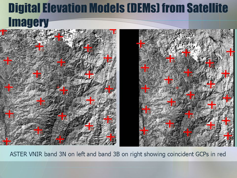 Digital Elevation Models (DEMs) from Satellite Imagery ASTER VNIR band 3N on left and band 3B on right showing coincident GCPs in red