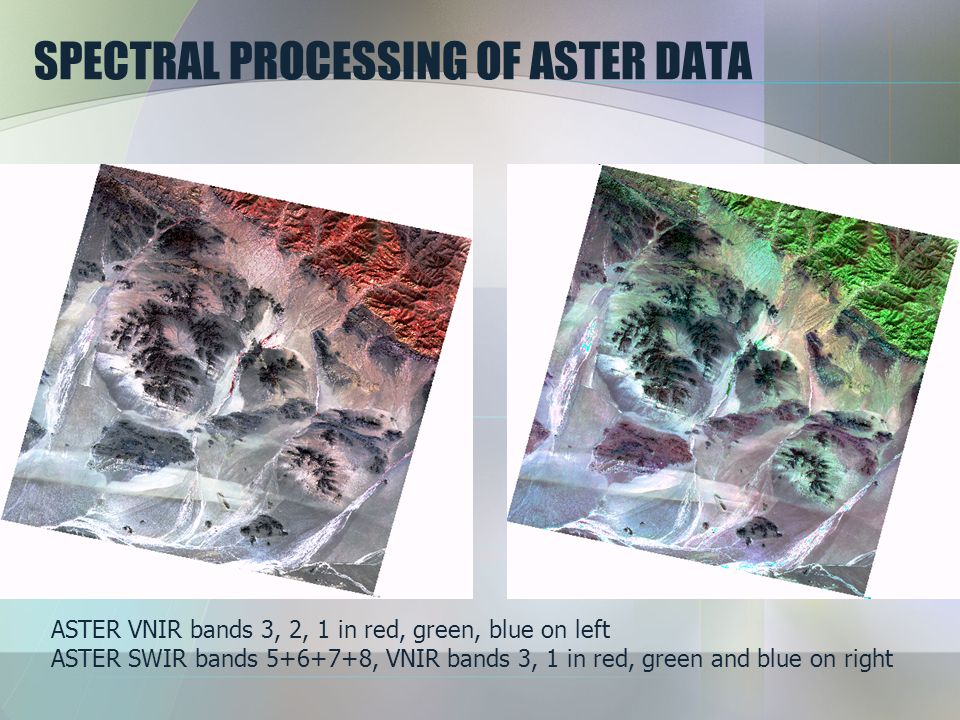 SPECTRAL PROCESSING OF ASTER DATA ASTER VNIR bands 3, 2, 1 in red, green, blue on left ASTER SWIR bands 5+6+7+8, VNIR bands 3, 1 in red, green and blu