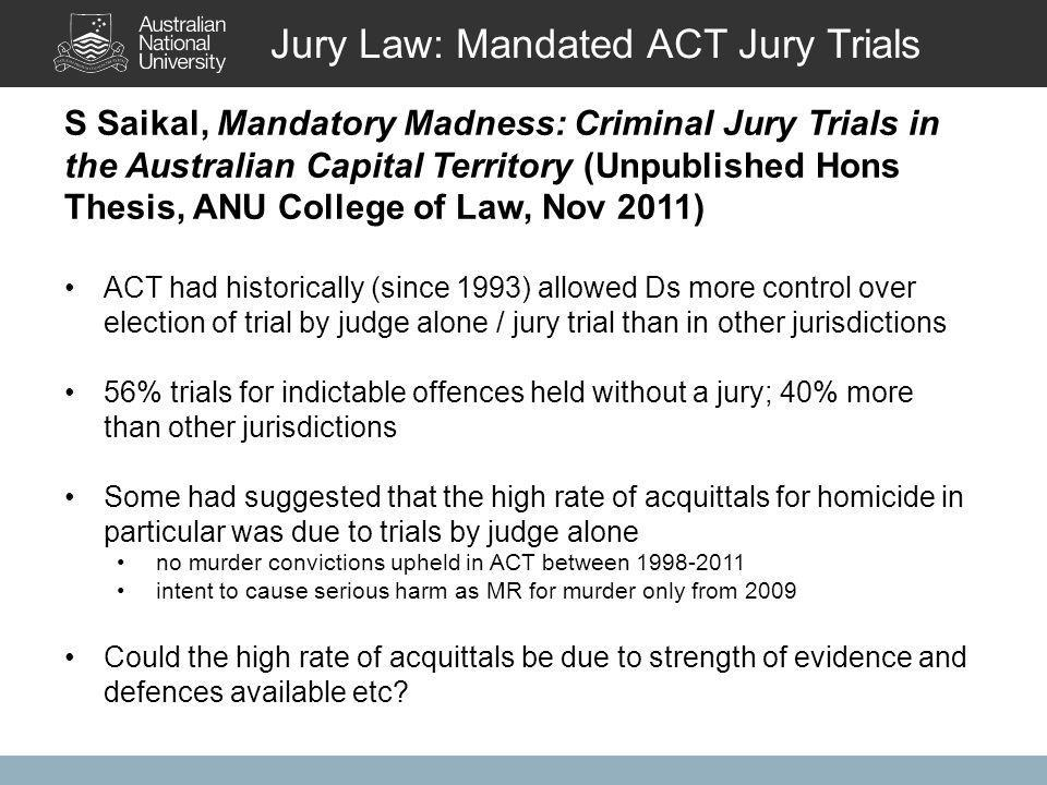 S Saikal, Mandatory Madness: Criminal Jury Trials in the Australian Capital Territory (Unpublished Hons Thesis, ANU College of Law, Nov 2011) ACT had