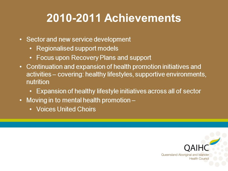 Achievements Sector and new service development Regionalised support models Focus upon Recovery Plans and support Continuation and expansion of health promotion initiatives and activities – covering: healthy lifestyles, supportive environments, nutrition Expansion of healthy lifestyle initiatives across all of sector Moving in to mental health promotion – Voices United Choirs