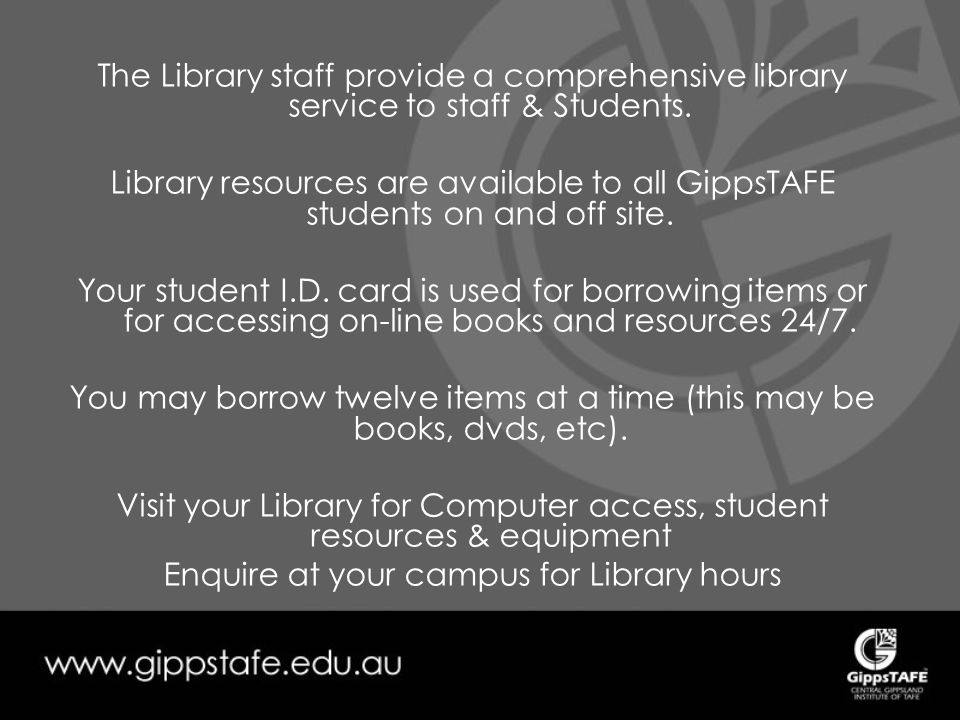 The Library staff provide a comprehensive library service to staff & Students.