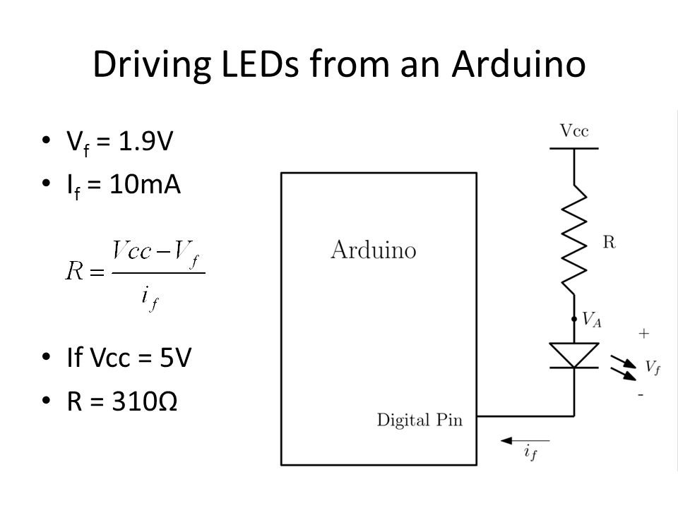 Driving LEDs from an Arduino V f = 1.9V I f = 10mA If Vcc = 5V R = 310Ω