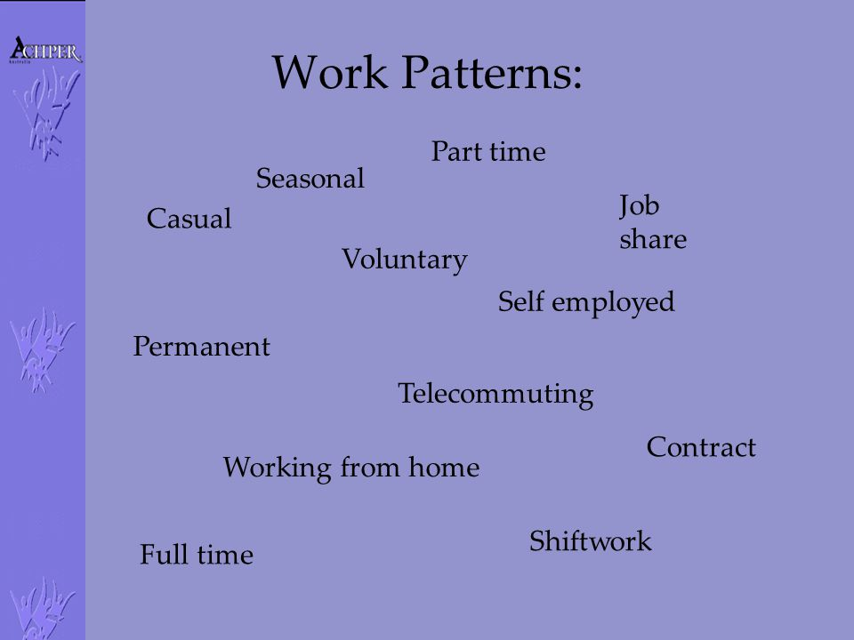 Work Patterns: Seasonal Full time Part time Casual Voluntary Job share Permanent Telecommuting Working from home Self employed Contract Shiftwork