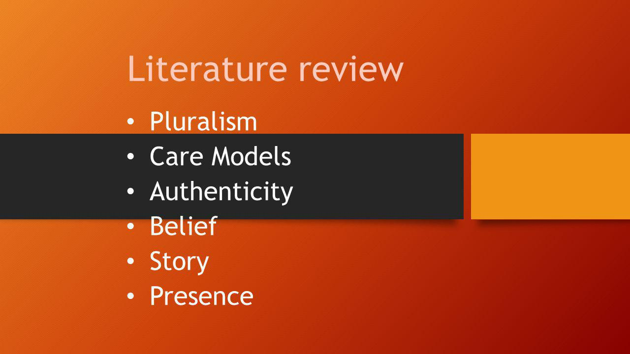 Literature review Pluralism Care Models Authenticity Belief Story Presence